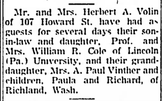 Volin, Cole, Vinther visit - 17 Jul 1957 - Berkshire Eagle, pg 8 - Mr. and Mrs. Herbert A. of 107 Hoxvard St. have...
