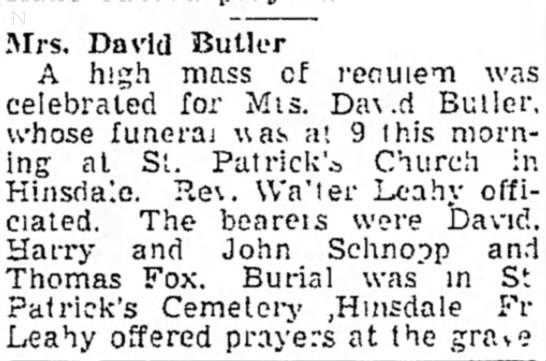 Mary (Cunningham) Butler - funeral and burial