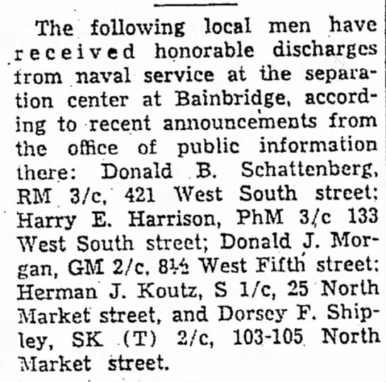 Dorsey F Shipley Honorable Discharge from Naval Service-The News Friday 16 Nov 1945