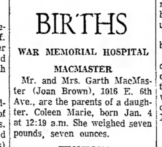 the evening news_sault ste. marie mi_05Jan1970_pg6 - BIRTHS WAR MEMORIAL HOSPITAL MACMASTER Mr. and...