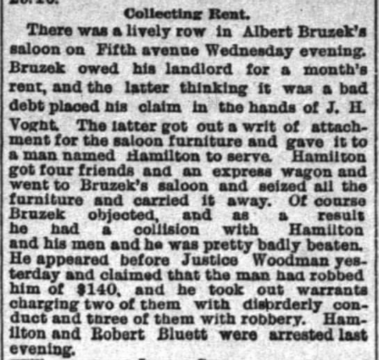 12 march 1886 Bar Brawl with Robert Bluett - rent, and the latter thinking it was a bad debt...