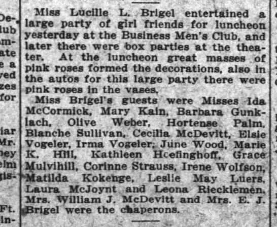 Cecile and Mrs. W.J. Social Event 28 Dec 1918 - be-, dub em a for -: Mr. Ft, Miss 'Lucille'...