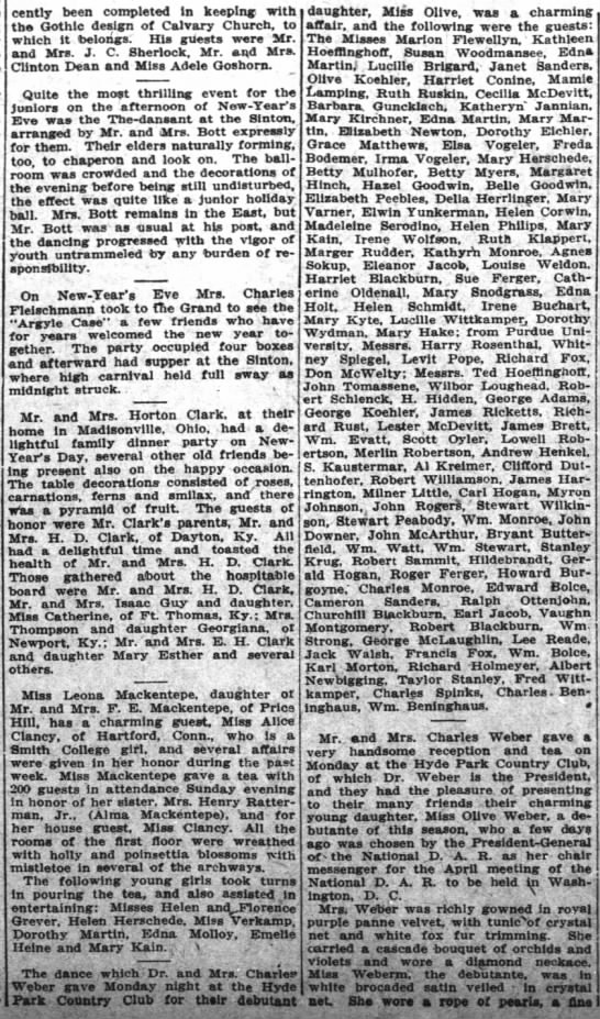 Debutante party including Cecile and Lester McDevitt 4JAN1914 - cently been completed In keeping- keeping- with...