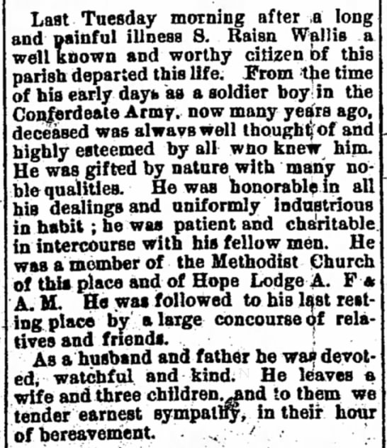 S R Wallis Obit 1893 - Last Tuesday morning after .a long and gainful...