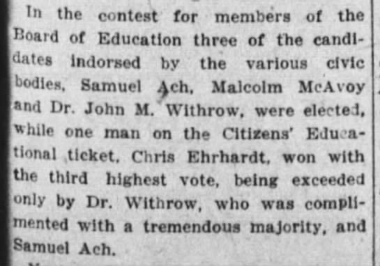 November 7, 1917 - In the contest for members of the Board of...