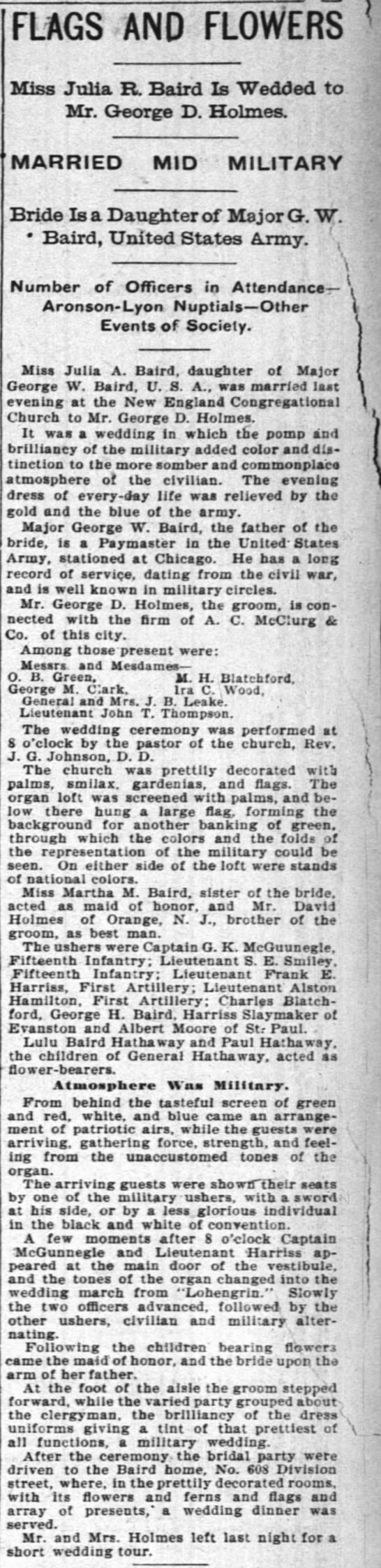 julia's wedding 6/3/1896 - FLAGS AND FLOWERS Miss Julia R, Baird Is Wedded...