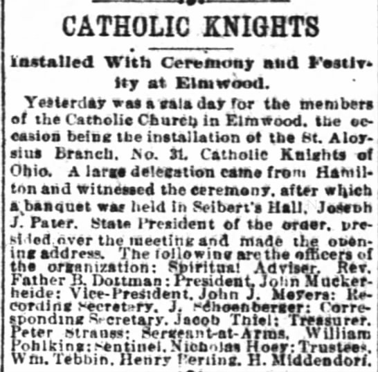 Pohlking 20 Mar 1893 - CATHOLIC KNIGHTS Installed With Cereaiost and...