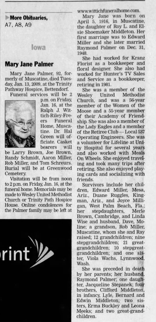 Mary Middleton Palmer The Dispatch (Mobile, Illinois) 15 Jan 2009,  2009 - More Obituaries, A7, A8, A9 Iowa Mary Jane...