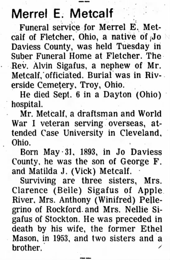 Freeport Journal-Standard, Freeport, Illinois - 13 September 1974, page 14. - Merrel E. Metcalf Funeral service for Merrel E,...