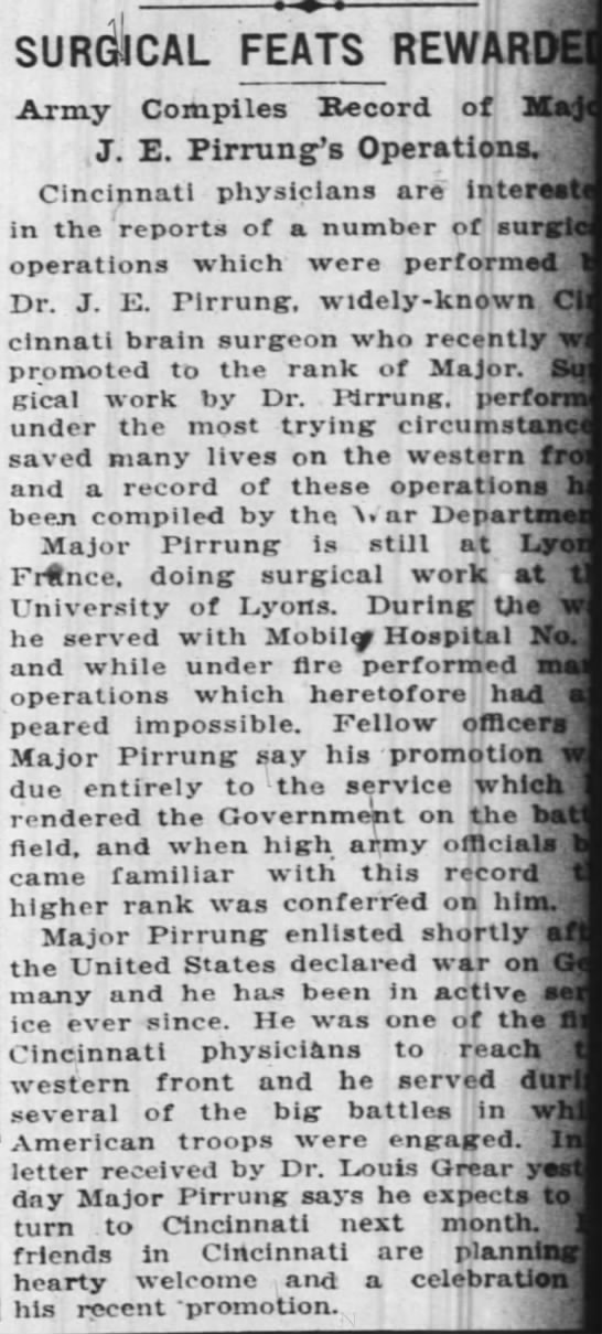 J.E. Pirrung medical feats - SURGICAL FEATS REWARDE. Army Compiles Kcord of...