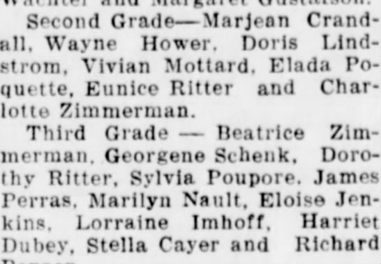 Eunice and Dorothy Ritter, in 1941?   - Second Grade—Marjean Crand•11, Crand•11, Wa>a«...