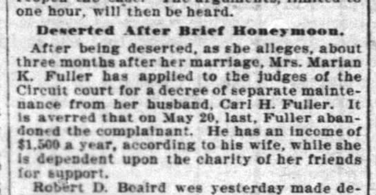 """Fuller, Carl Hamilton 1903 deserted first wife - one hour, will"""" then be beard.' Deaerted After..."""