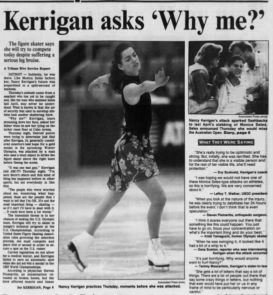 Assailant attacks Nancy Kerrigan - ICerri m asks 6Wliy me?9 ' Tt- Tt- c r me uguic...