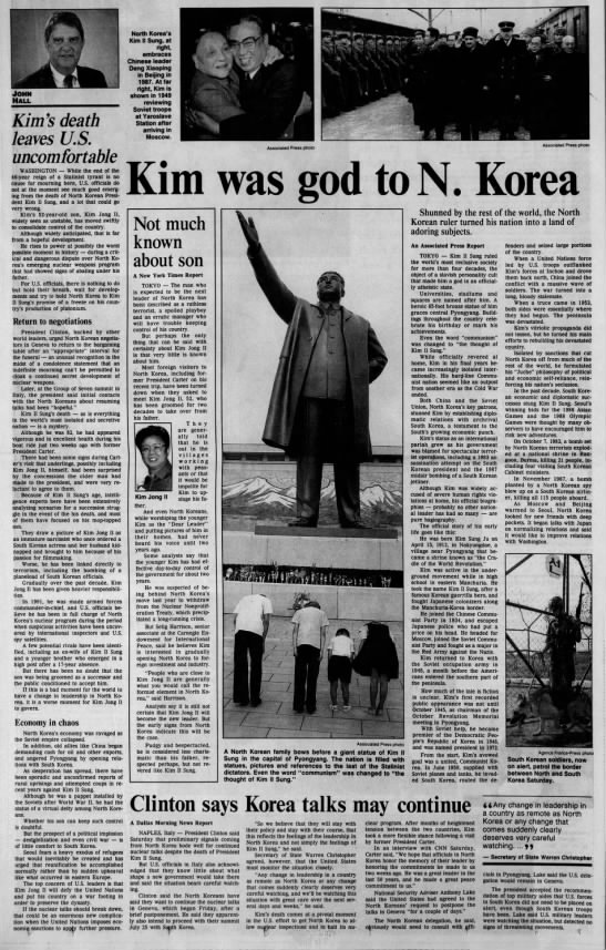 Kim II Sung Dies - 0 - - v JOHN Hall Kim's death leaves U.S....
