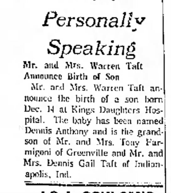 Mildred Taft - Personally Speaking Mr. and Mrs. Warren Tail...