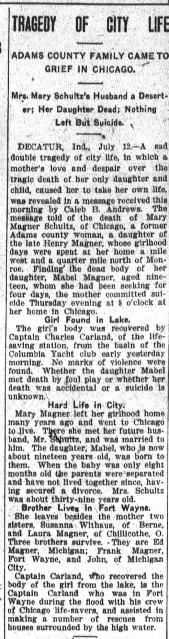 Suicide of Mary Magner after death of daughter Mabel Magner. - TRAGEDY OF CITY LIFE ADAM8 COUNTY FAMILY CAME...