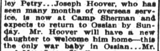 1919 Jun 16 Hoover, Joseph overseas in WWI, comes home to a new baby girl.