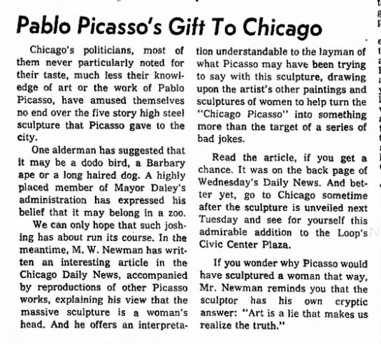 - Pab/o Picasso's Gift To Chicago Chicago's...
