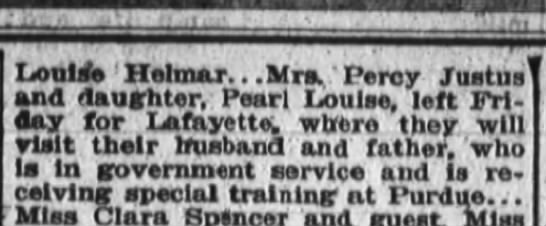 Clue into Percy Justus - Louise Hetmar... Mrs,, Percy Justus and...