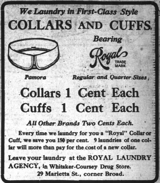 1907-05-08 WHITAKER-COURSEY DRUG STORE - AD - We Laundry in First - Class Style COLLARS and...