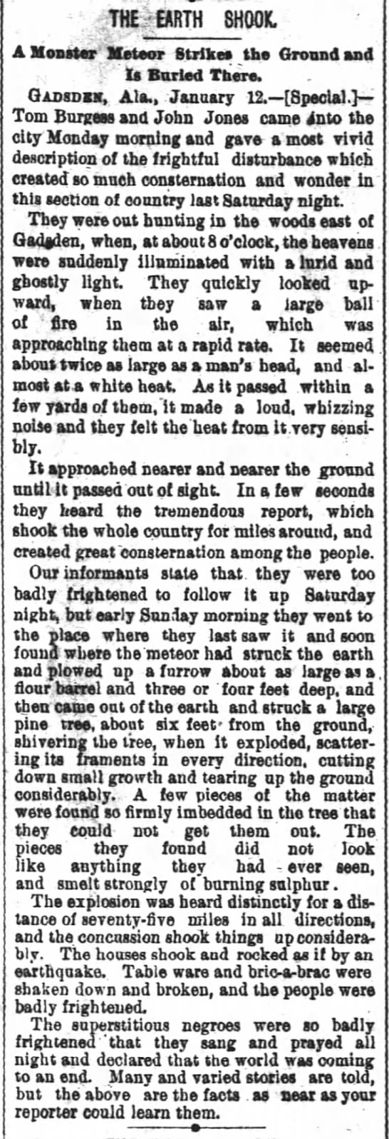 "1892 Alabama ""The Earth Shook"" Interesting story about a meteorite.  TMalmay - THE EARTH SHOOK. Gadsdss, Ala., January 12.—..."