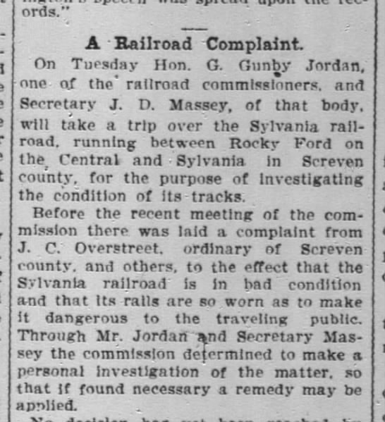 - - A Railroad Complaint. Tuesday Hon. G. Ounby...