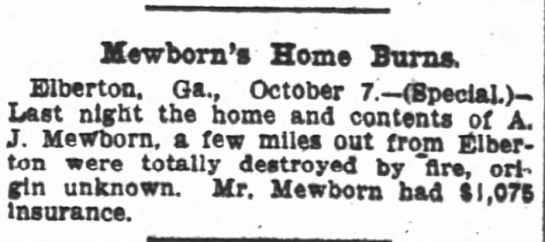 - newborn's Home Burns. Elberton. Ga., October 7...