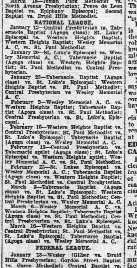 St Paul Methodist basketball schedule 8 Jan 1922 - Presbyterian; Ponce de Leor Baptist vs. Druid...
