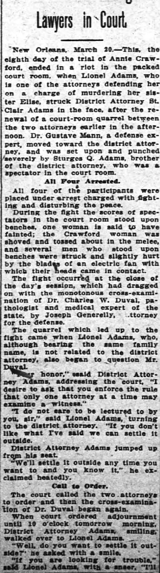 """Attorney Joseph GenerellyMarch 21, 1912 - Lawyers in Court """"New Orleans. March 10. — This..."""