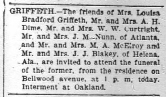 Louisa Bradford Griffeth - The friends of Mrs. Louisa Bradford Qriffeth....