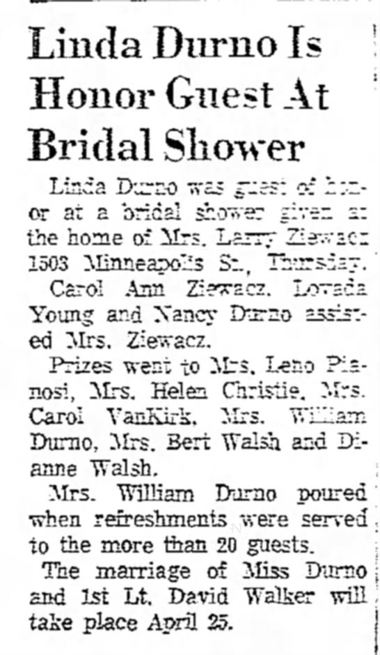 - Linda Diirno Is Honor Guest At Bridal Shower...