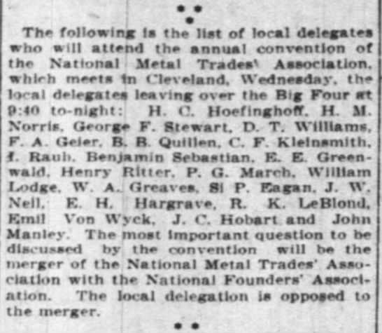 Emil Won Wyck delegate to Natl Metal Trades Assn 20 March 1906 Enq - e e The following la the Hat of local delegates...