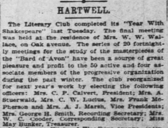 "Literary society - HAETWELL. Th Literary Club completed Its ""Tear..."