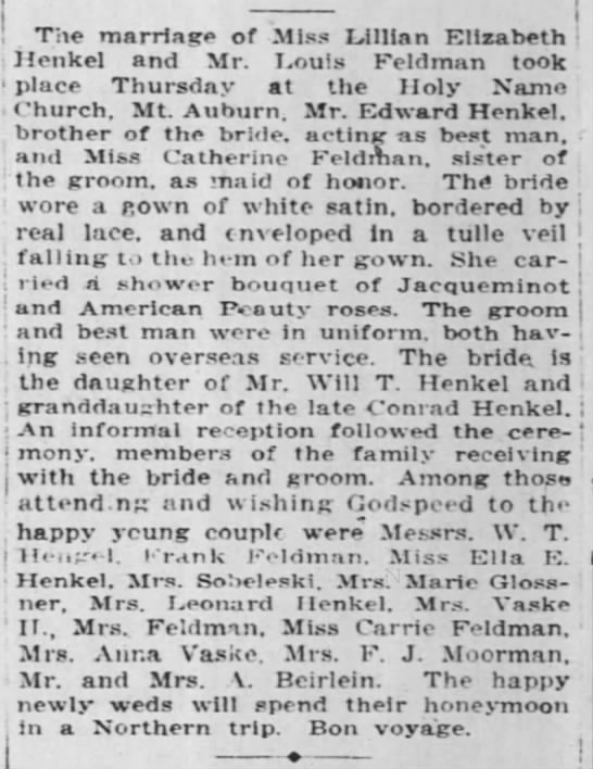 Louis Feldman Wedding 22 Jun 1919 - The marriage of Miss Lillian Elizabeth Henkel...