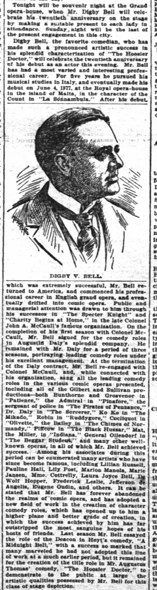 Digby Bell career in various comic operas, mention of DWH 5 June 1897 The Inter Ocean Chicago