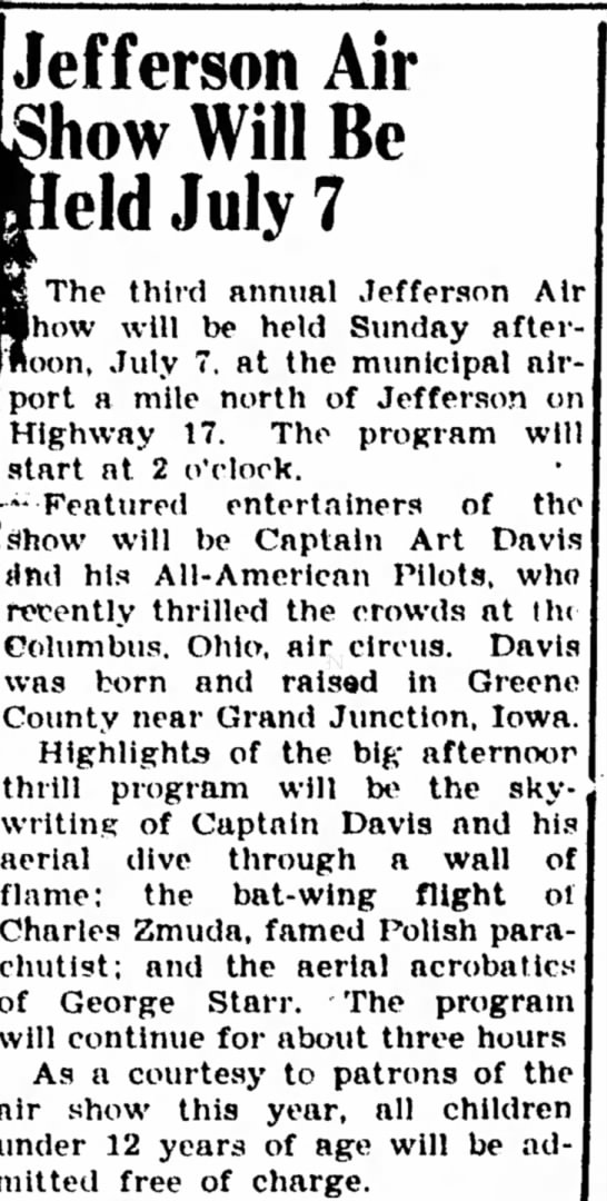 Carroll Daily Herald (Carroll, Iowa 28 June 1940 - Jefferson Air how Will Be eld July 7 The third...