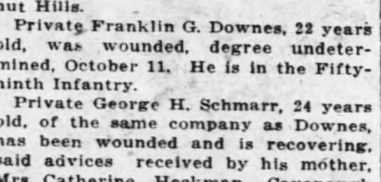 frank downes b1896 - out nuia. Private Franklin G. Downes, 22 years...