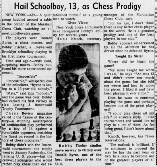 Hail Schoolboy, 13, as Chess Prodigy - ! Hail Schoolboy, 13, as Chess Prodigy NEW YORK...