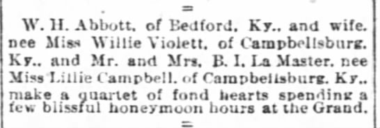 - W. H. Abbott, of Bedford. Ky.. and wife. nee...