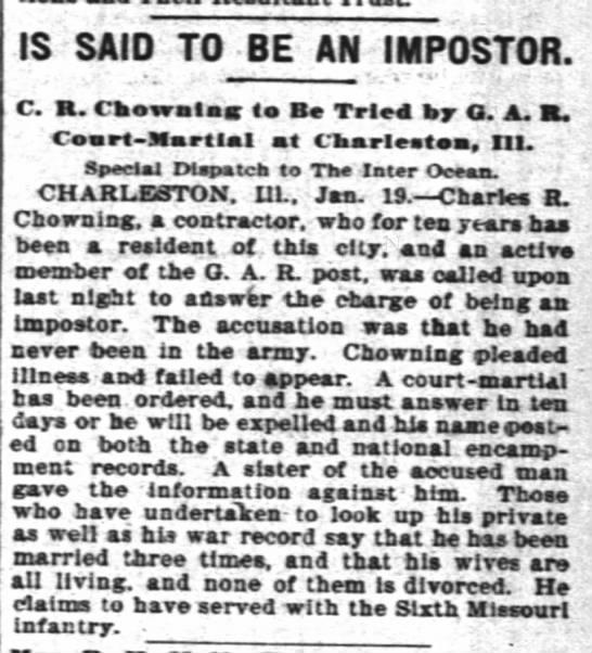 Inter Ocean, Chicago, Jan. 20, 1898, p. 4. - IS SAID TO BE AN IMPOSTOR. C. R. Chownlnc im Be...