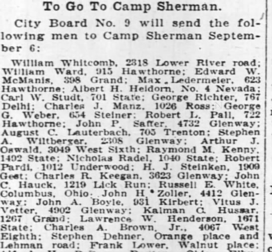 nick radel - To Go To Camp Sherman. ' City Board No. 9 will...