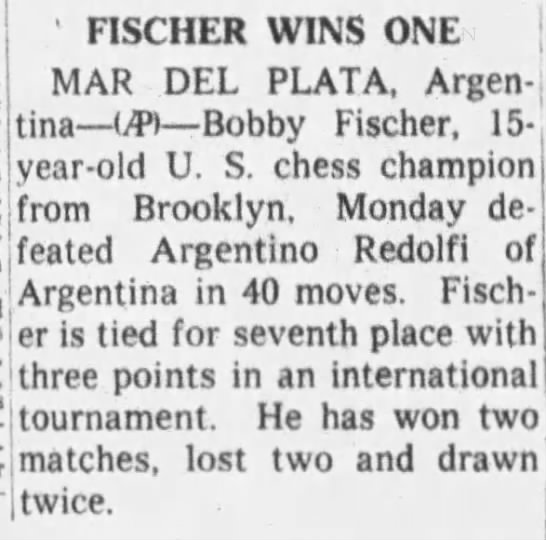 Fischer Wins One - 1 FISCHER WINS ONE MAR DEL PLATA, Argen-.? Una...