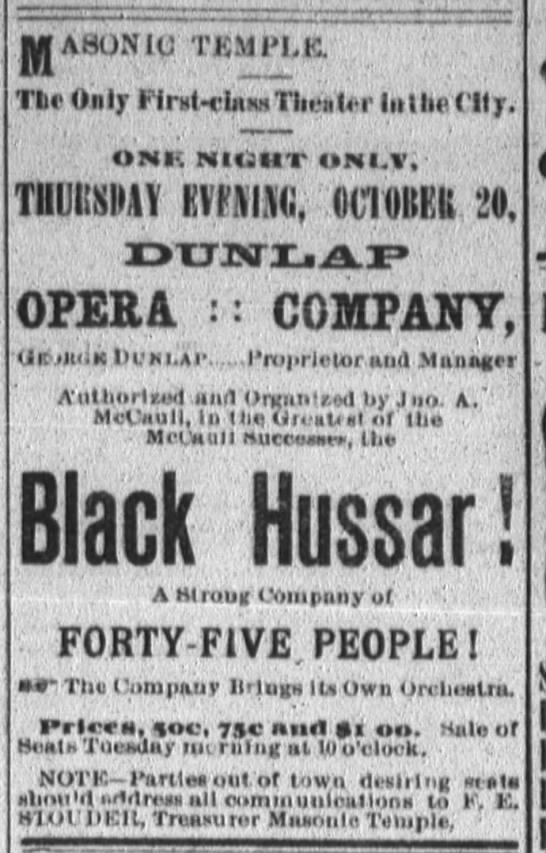 "Fort Wayne Daily News 19 Oct 1887 ""The Black Hussar"""
