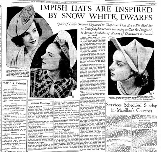 snowwhite dwarf hats - THE EVENING INDEPENDENT MASSILLON. OHIO f .&f....
