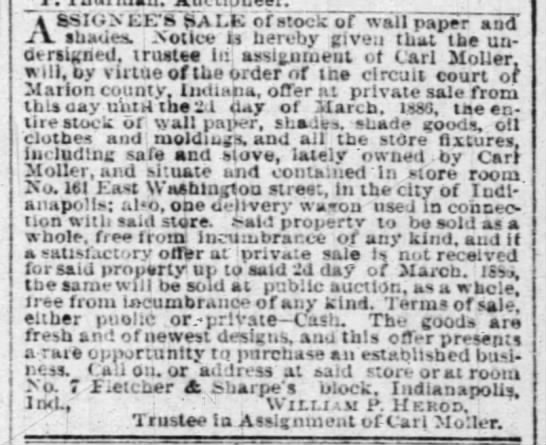 The Indianapolis 1 Mar 1886 pg3 Assignee's Sale Carl Moller - VSSION EE'S SAI-K SAI-K SAI-K or stock of wall...