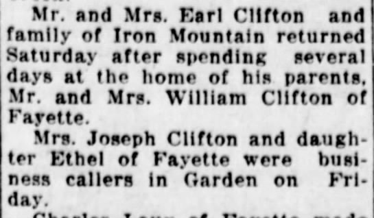 - Mr. and Mrs. Earl Clifton and family of Iron...