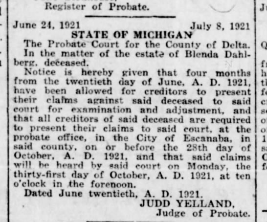 - Register of Probate. June 21, 1921 July 8, 1921...