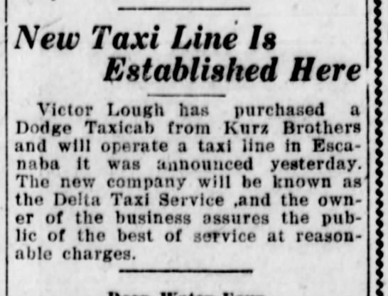 July 19, 1921 - New Taxi Line Is Established Here Victor Lough...