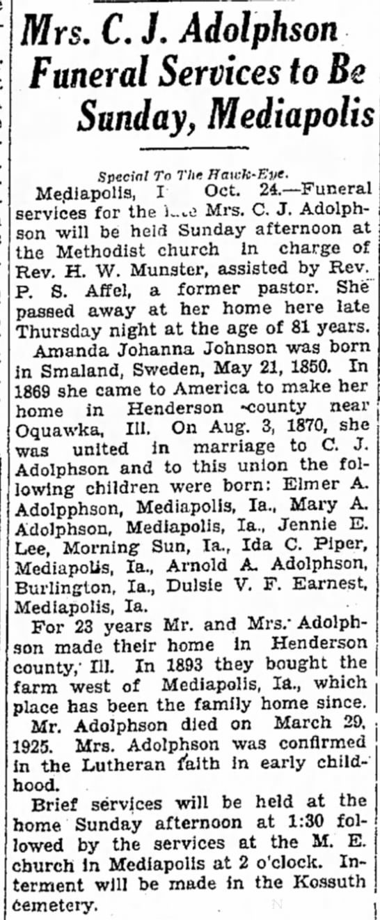 Mrs. C. J. Adolphson - Mrs. C. J. Adolphson Funeral Services to Be...