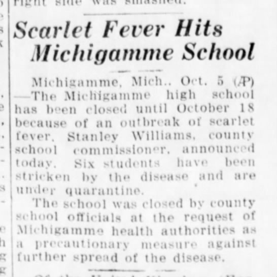 Escanaba Daily Press 6 Oct 1937 - h Scarlet Fever Hits Michigamme School...